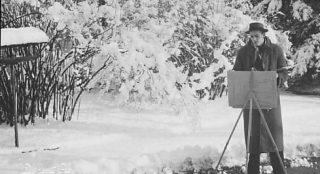 1943. Beim Malen einer Winterlandschaft, Lugano