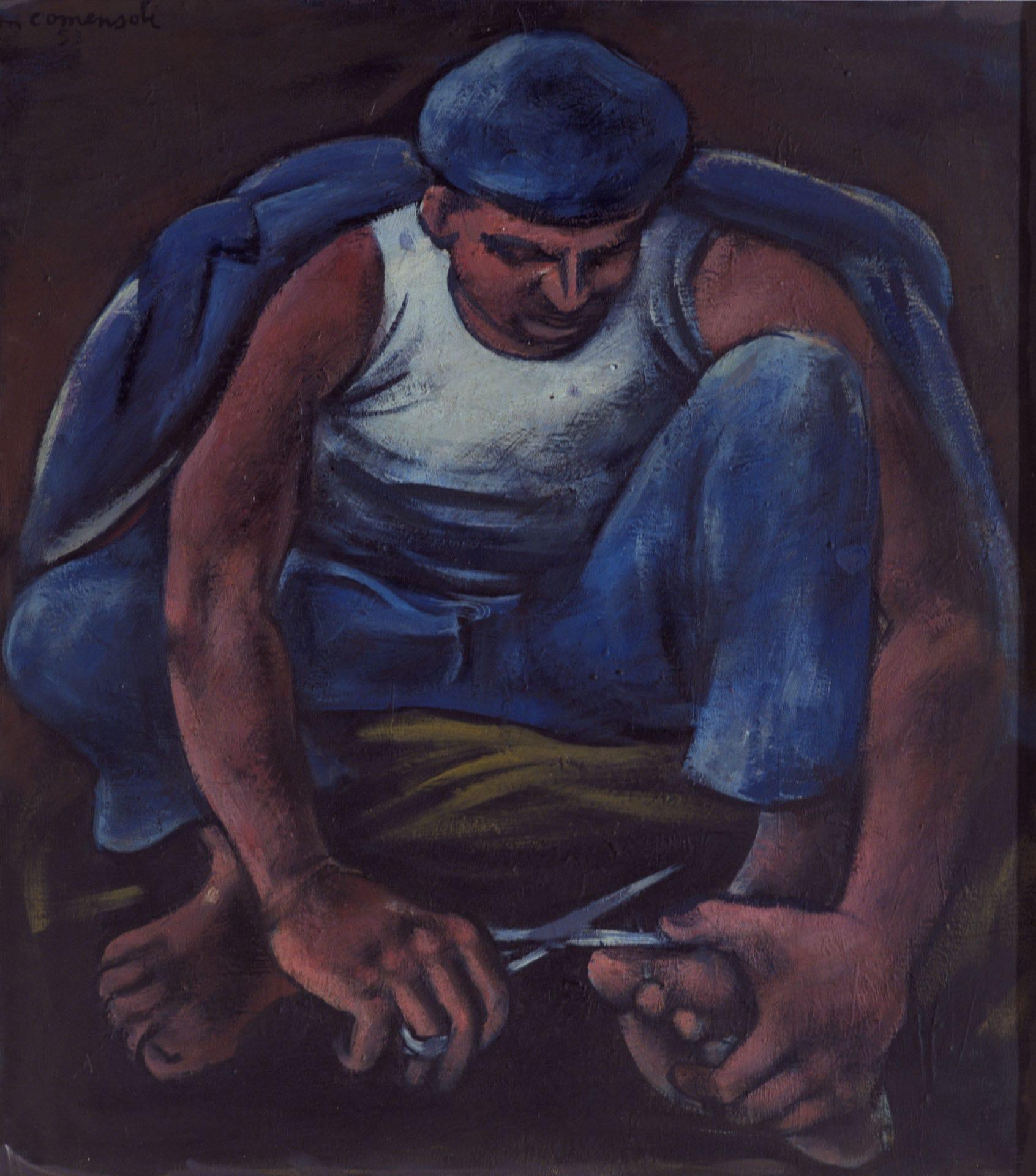 Mann, der sich Nägel schneidet