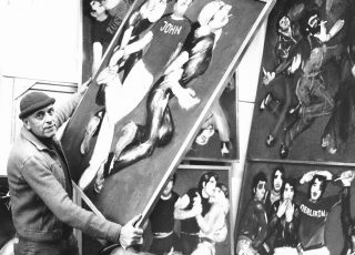 "1981. Preparations for the exhibition ""Discovirus"" in Glatt department store near Zurich"